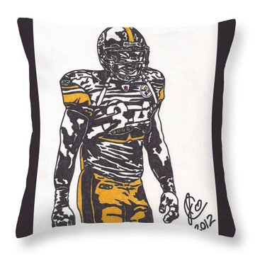 Throw Pillow featuring the drawing Rashard Mendenhall 2 by Jeremiah Colley