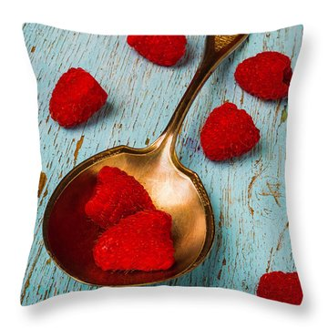 Raspberries With Antique Spoon Throw Pillow by Garry Gay