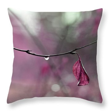 Raspberry Pink Leaf And Raindrops Throw Pillow