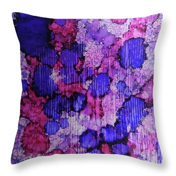 Throw Pillow featuring the painting Raspberry Rain Ink #19 by Sarajane Helm
