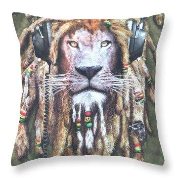 Rasta Lion Throw Pillow