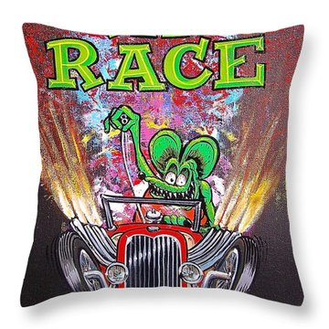 Throw Pillow featuring the painting Rat Race by Alan Johnson