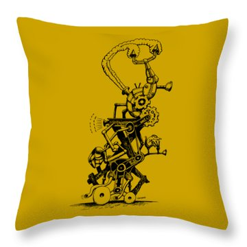 Rat Reverse-cycle Steam Engine Throw Pillow