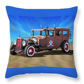 Throw Pillow featuring the photograph Rat Rod On Beach 3 by Mike McGlothlen