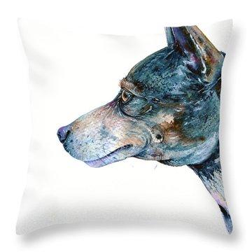 Throw Pillow featuring the painting Rat Terrier by Zaira Dzhaubaeva