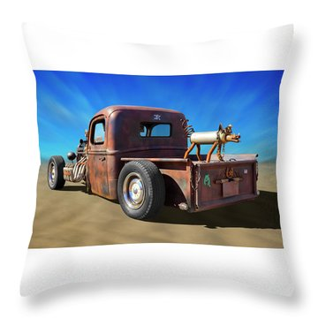 Throw Pillow featuring the photograph Rat Truck On Beach 2 by Mike McGlothlen