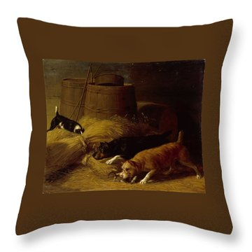 Rats In The Barley Sheaves Throw Pillow