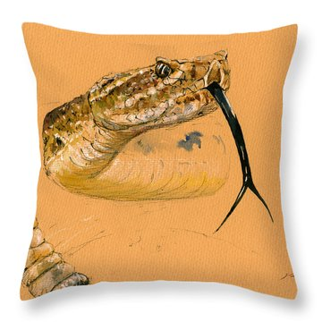Rattlesnake Painting Throw Pillow