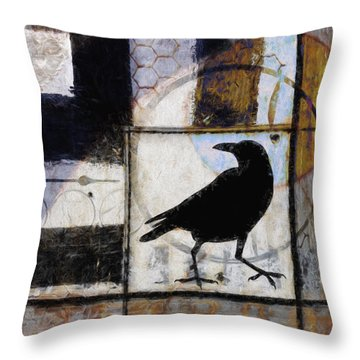 Raven Ahead Of Time Throw Pillow