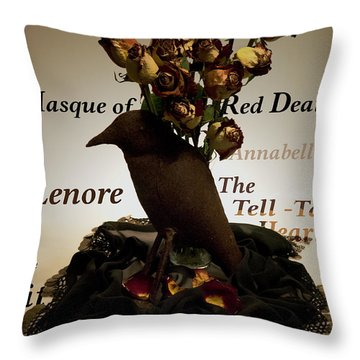 Raven And Roses Throw Pillow