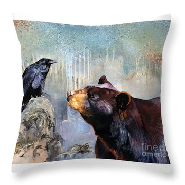 Raven And The Bear Throw Pillow