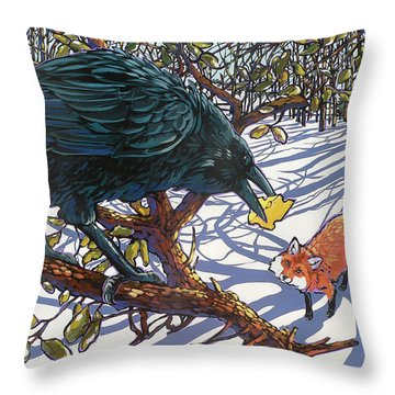 Raven And The Fox Throw Pillow