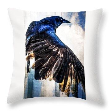Raven Attitude Throw Pillow by Carolyn Marshall