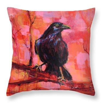 Raven Bright Throw Pillow by Mary Schiros