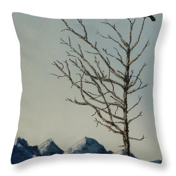 Throw Pillow featuring the painting Raven Brought Light by Stanza Widen