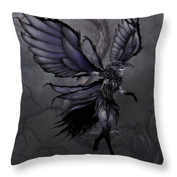 Throw Pillow featuring the digital art Raven Fairy by Stanley Morrison