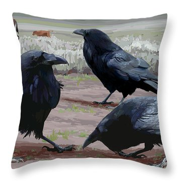 Raven Gathering Throw Pillow