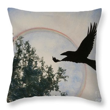Throw Pillow featuring the painting Raven Holds The Sun by Stanza Widen