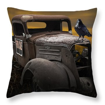 Raven Hood Ornament On Old Vintage Chevy Pickup Truck Throw Pillow