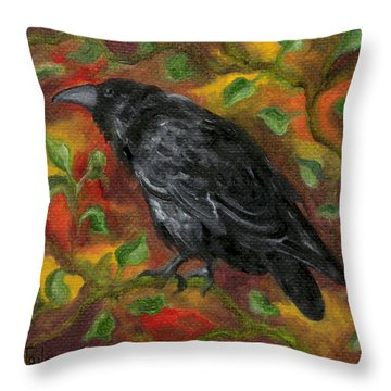 Raven In Autumn Throw Pillow