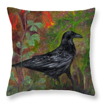 Raven In Columbine Throw Pillow