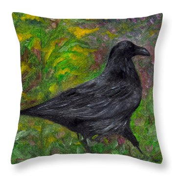 Raven In Goldenrod Throw Pillow