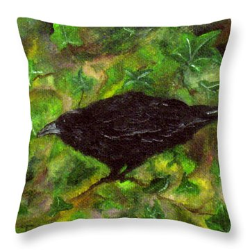Raven In Ivy Throw Pillow