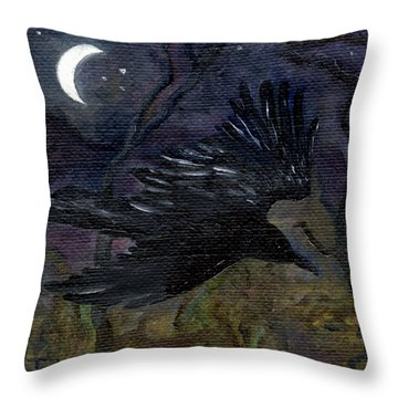 Raven In Stars Throw Pillow