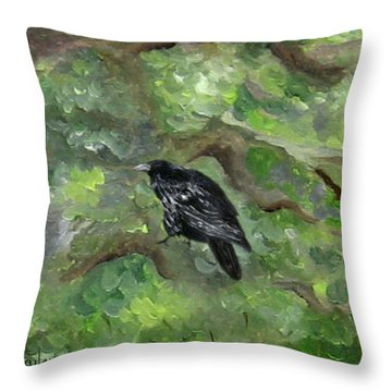 Raven In The Om Tree Throw Pillow
