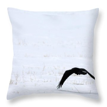 Raven In The Snow Throw Pillow