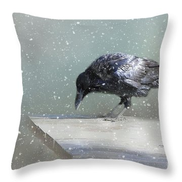 Raven In Winter Throw Pillow