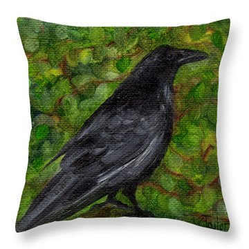 Raven In Wirevine Throw Pillow