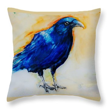 Crow Throw Pillow by Jean Cormier