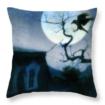 Raven Landing On Branch In Moonlight Throw Pillow by Jill Battaglia
