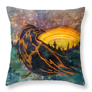 Raven Of The Woods Throw Pillow by Cynthia Lagoudakis