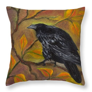 Raven On A Limb Throw Pillow