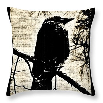 Raven On The Lookout Throw Pillow