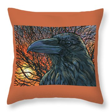 Raven Orange Throw Pillow by Nadi Spencer