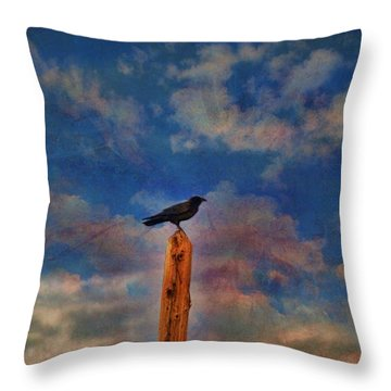 Throw Pillow featuring the photograph Raven Pole by Jan Amiss Photography