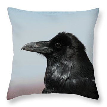 Raven Profile Throw Pillow by Ernie Echols