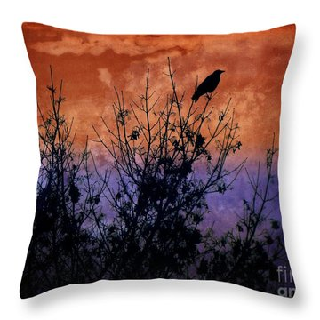 Raven Sentinel Throw Pillow by Dee Flouton