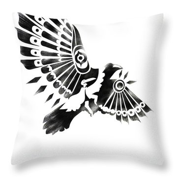 Raven Shaman Tribal Black And White Design Throw Pillow