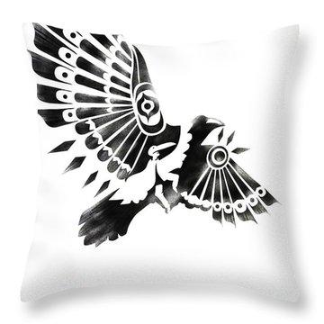 Raven Shaman Tribal Black And White Design Throw Pillow by Sassan Filsoof