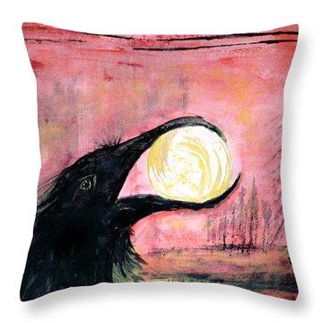 Raven Steals The Sun Throw Pillow