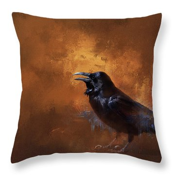 Throw Pillow featuring the painting Raven by Theresa Tahara