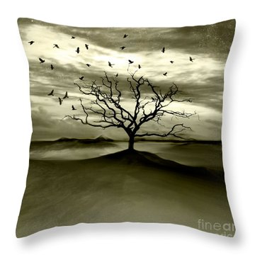Raven Valley Throw Pillow by Jacky Gerritsen