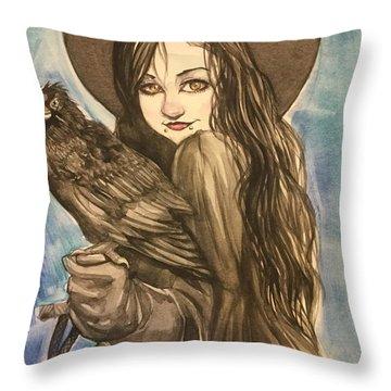 Raven Witch Throw Pillow