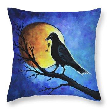 Raven With Key Throw Pillow