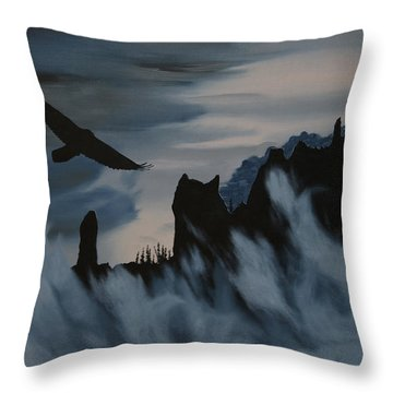 Raven Wolf Head Throw Pillow