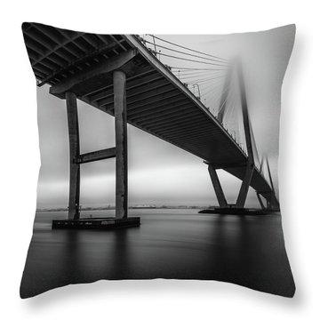 Ravenel Bridge November Fog Throw Pillow